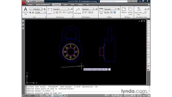 Annotating with single-line text: AutoCAD 2009 Essential Training