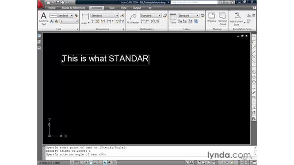 Creating text styles: AutoCAD 2009 Essential Training