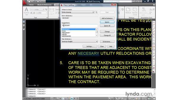 Correcting spelling errors: AutoCAD 2009 Essential Training