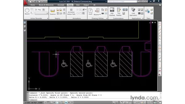 Using the Distance command: AutoCAD 2009 Essential Training