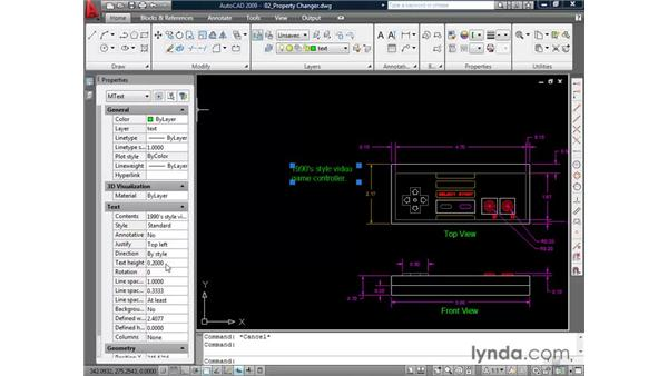 Modifying elements with the property changer: AutoCAD 2009 Essential Training
