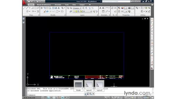 Using layouts pt. 2: Inserting a title block: AutoCAD 2009 Essential Training