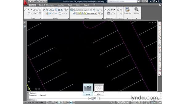 Sizing model space dimensions: AutoCAD 2009 Essential Training