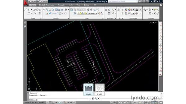 Scaling linetypes: AutoCAD 2009 Essential Training