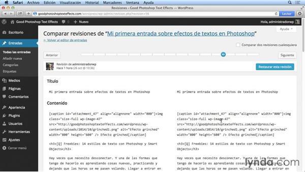 Revisiones de una entrada de WordPress