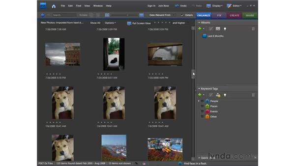 Getting photos from files and folders: Photoshop Elements 7 for Windows Essential Training