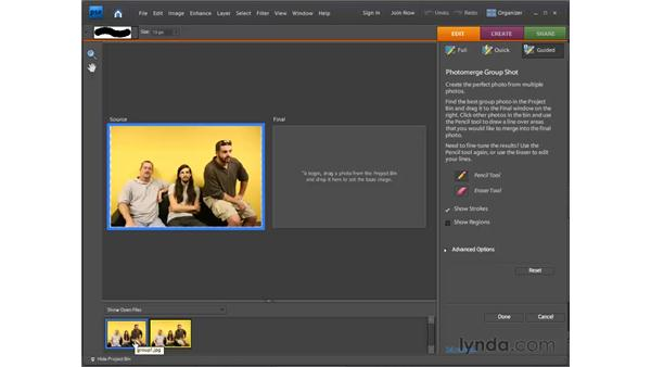 Fixing group shots automatically: Photoshop Elements 7 for Windows Essential Training