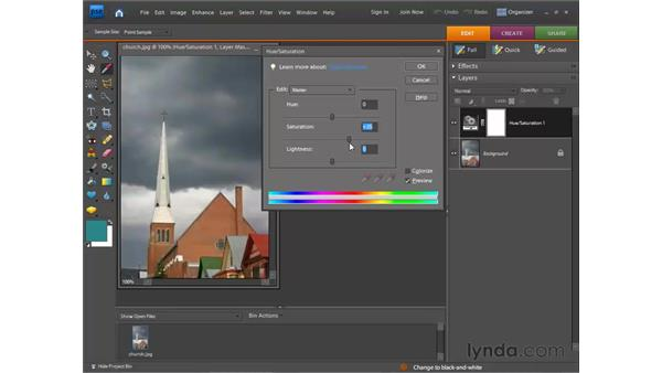 Adjusting with Hue/Saturation: Photoshop Elements 7 for Windows Essential Training