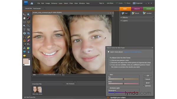 Correcting skin tone: Photoshop Elements 7 for Windows Essential Training