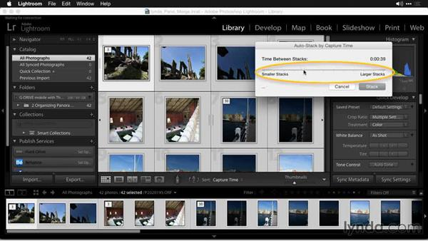 Automatically stacking photos based on shoot time: Creating Panoramas with Lightroom