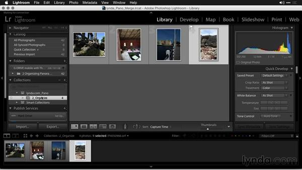 Organizing panoramas with collections and stacks: Creating Panoramas with Lightroom
