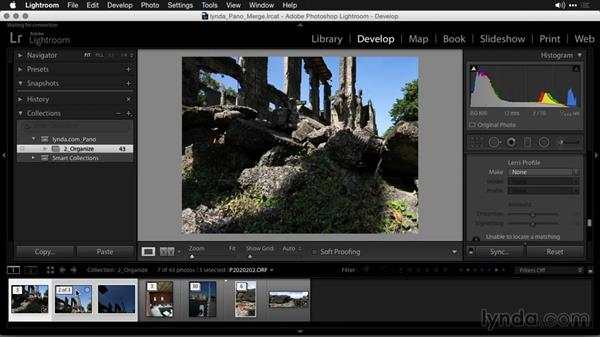 Making initial adjustments before merging: Creating Panoramas with Lightroom
