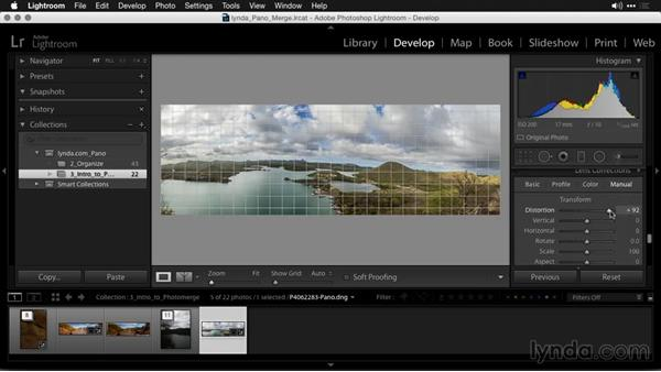 Correcting lens issues with lens profiles: Creating Panoramas with Lightroom
