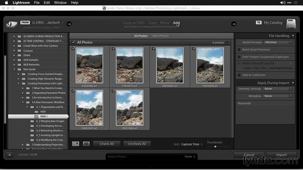 Organization and naming strategies: Creating Panoramas with Lightroom
