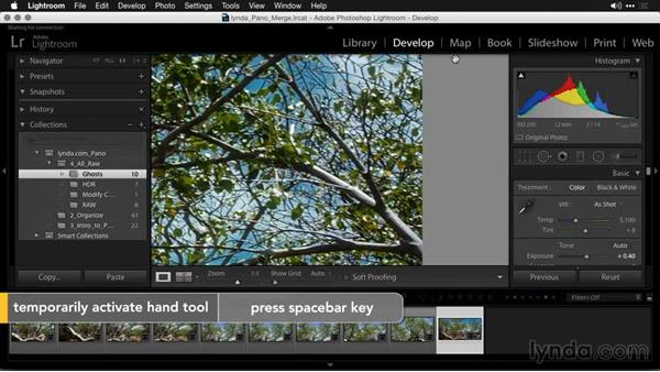 Removing ghosts and echoes with the Spot Removal tool: Creating Panoramas with Lightroom