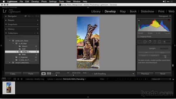Invoking Upright to fix perspective issues: Creating Panoramas with Lightroom