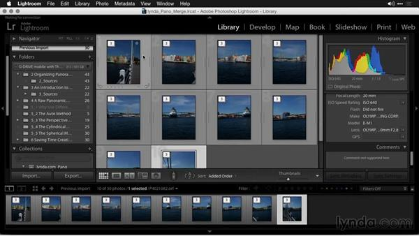 Importing and organizing for automation: Creating Panoramas with Lightroom