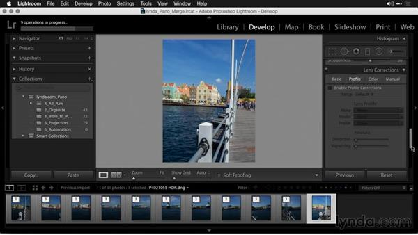 Modifying the image after merging: Creating Panoramas with Lightroom
