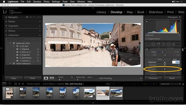 Handing off high-quality images from Lightroom to Photoshop: Creating Panoramas with Lightroom