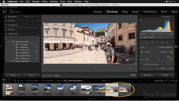 Sending the image back to your Lightroom catalog: Creating Panoramas with Lightroom