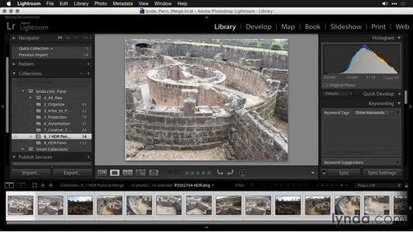 Combining HDR images to create the initial panoramic photo: Creating Panoramas with Lightroom