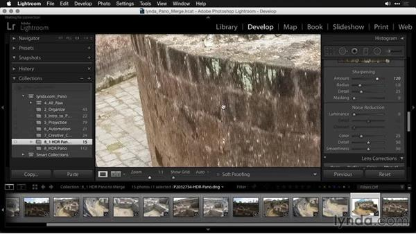 Developing the merged file: Creating Panoramas with Lightroom