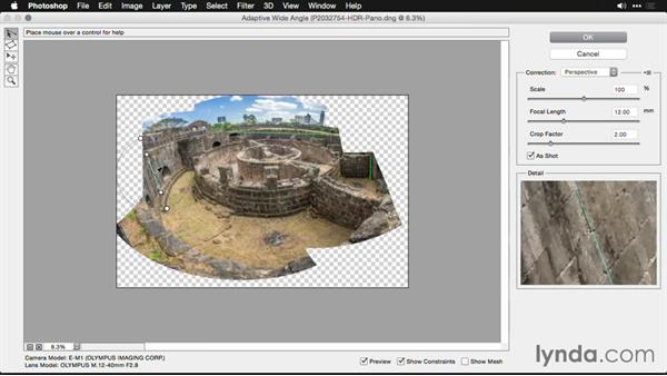 Additional Photoshop post-processing to remove distortion: Creating Panoramas with Lightroom
