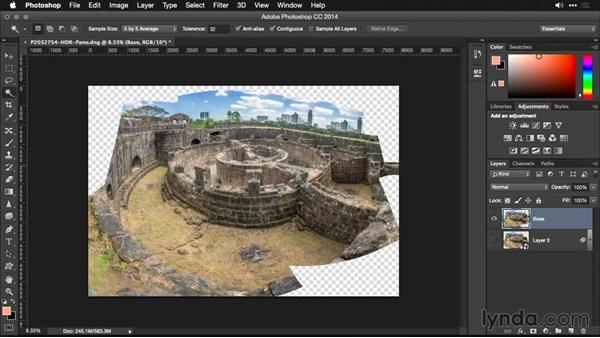 Filling in missing areas in Photoshop: Creating Panoramas with Lightroom
