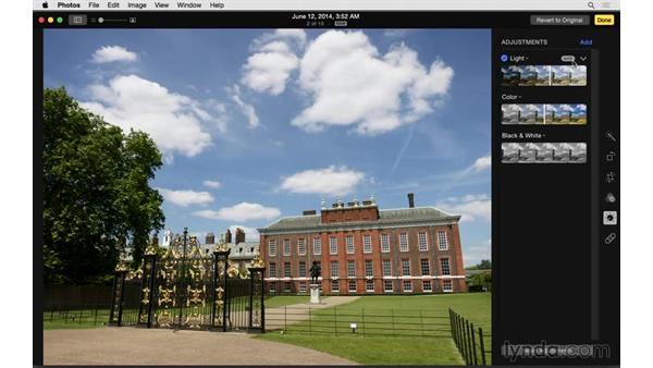 Using basic adjustments and Enhance: Up and Running with Photos for OS X