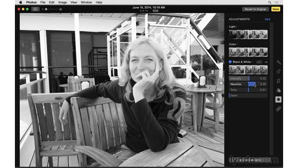 Converting a photo to black and white: Up and Running with Photos for OS X