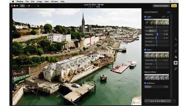 Copying and pasting adjustments: Up and Running with Photos for OS X