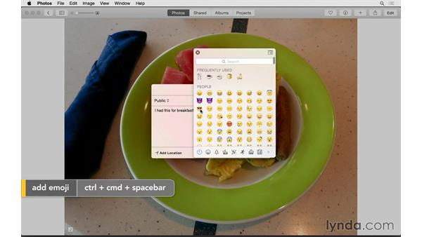 Sharing directly to social networks: Up and Running with Photos for OS X