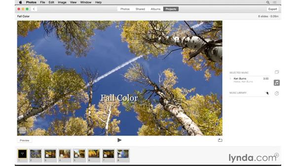 Creating a slideshow: Up and Running with Photos for OS X