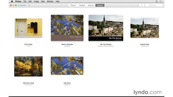 Reviewing the Projects tab: Up and Running with Photos for OS X