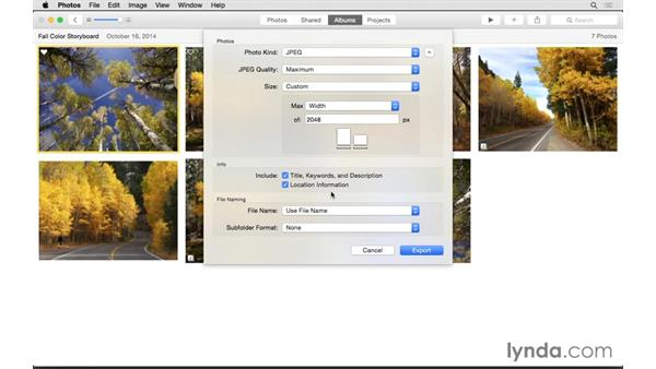 Exporting images out of the library: Up and Running with Photos for OS X