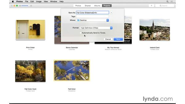Exporting a slideshow: Up and Running with Photos for OS X