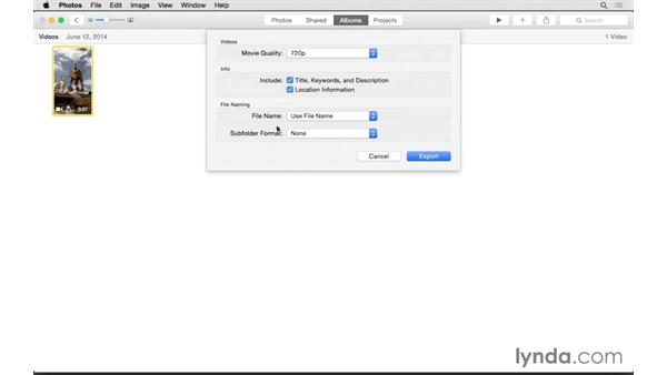Exporting a video: Up and Running with Photos for OS X