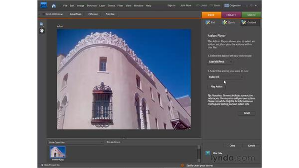 Using automated actions: Photoshop Elements 7 for Windows Essential Training