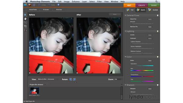Opening and viewing images in the Quick Fix mode: Photoshop Elements 6 for Mac Essential Training