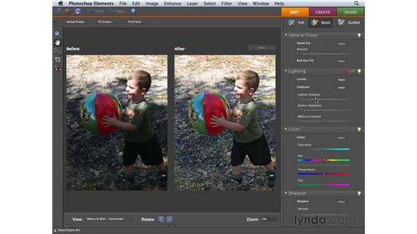 Using the Lighting sliders: Photoshop Elements 6 for Mac Essential Training