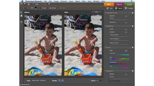 Using the Color sliders: Photoshop Elements 6 for Mac Essential Training