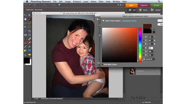 Changing the canvas size: Photoshop Elements 6 for Mac Essential Training