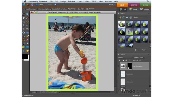Using adjustment layers and masks: Photoshop Elements 6 for Mac Essential Training