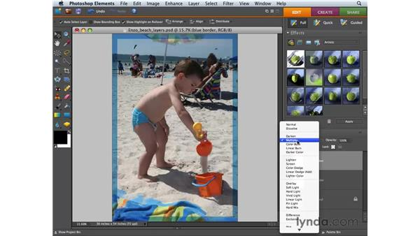 Applying transparency and blend mode adjustments: Photoshop Elements 6 for Mac Essential Training