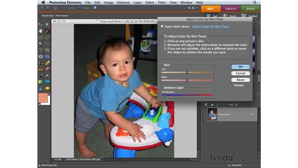 Correcting skin tone: Photoshop Elements 6 for Mac Essential Training