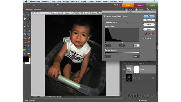 Balancing contrast and color with Levels adjustments: Photoshop Elements 6 for Mac Essential Training