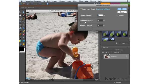 Correcting dark or light areas with Shadow/Highlight Adjustments: Photoshop Elements 6 for Mac Essential Training
