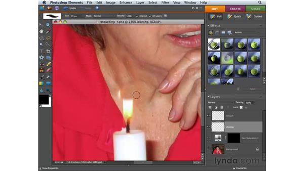 Cloning to remove contents: Photoshop Elements 6 for Mac Essential Training