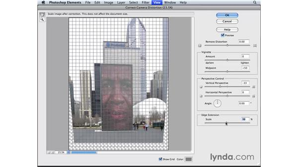 Adjusting perspective and correcting camera distortion: Photoshop Elements 6 for Mac Essential Training