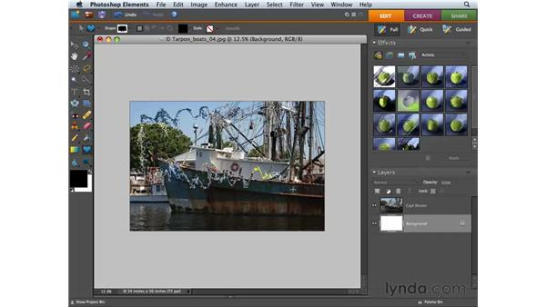 Creating a clipping mask: Photoshop Elements 6 for Mac Essential Training